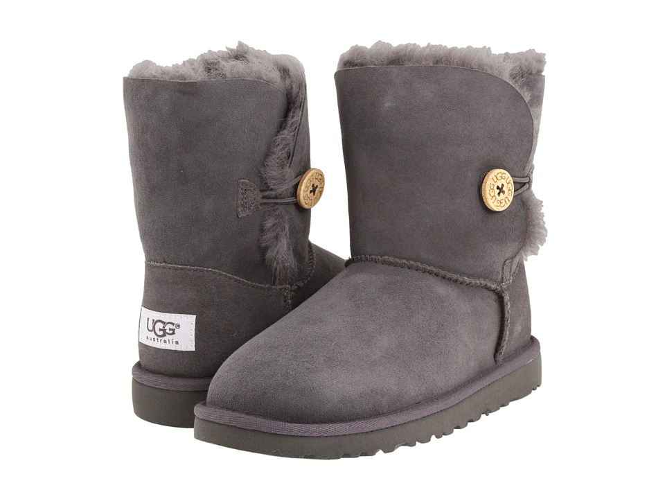 UGG Kids Bailey Button Big Kid 2 Grey Girls Shoes