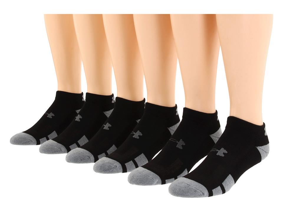 Under Armour - UA Resistor Lo Cut 6 Pack (Black) Mens Low Cut Socks Shoes
