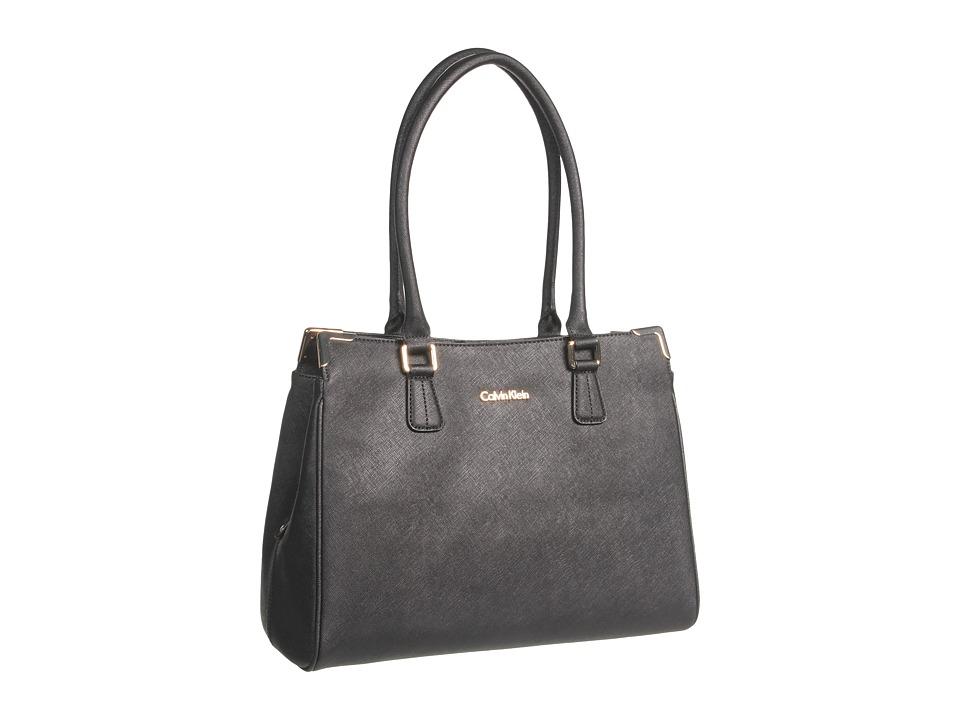 Calvin Klein - On My Corner Saffiano Leather Satchel (Black) Tote Handbags
