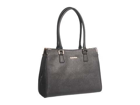 Calvin Klein On My Corner Saffiano Leather Satchel - Black