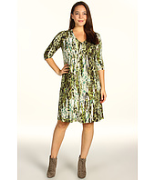 Karen Kane Plus - Plus Size Painted Animal Knit Shirred A-Line Dress