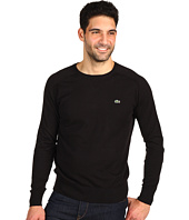Lacoste - Cotton Cashmere Crew Neck Sweater w/ Sweatshirt Details and Suede Trim