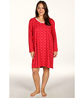 Karen Neuburger - Plus Size Pop In Red L/S Henley Nightshirt