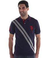 U.S. Polo Assn - Pique Polo W/ Double Diagonal Stripe