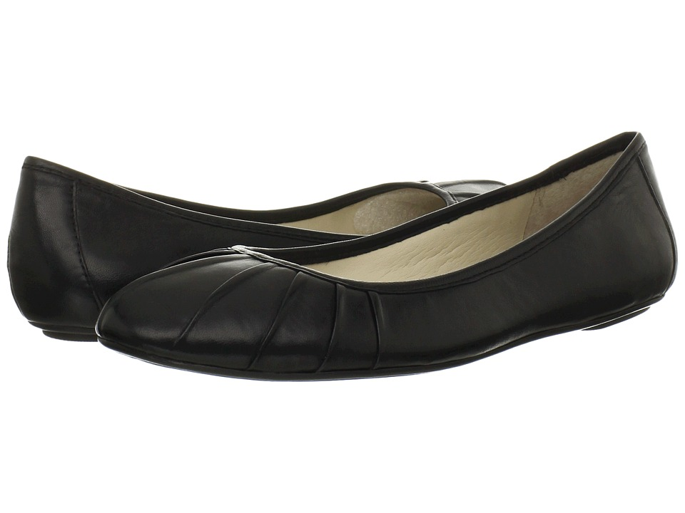 Nine West Blustery Black Leather Womens Flat Shoes