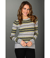 Autumn Cashmere - Varsity Stripe Boxy Cable Crew with Suede Patch