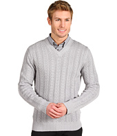 Calvin Klein - V-Neck Staghorn Cable Sweater
