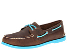 Sperry Top-Sider - A/O 2-Eye Neon (Dark Brown/Neon Blue)