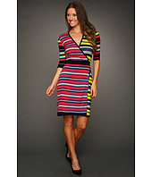 BCBGMAXAZRIA - Elia Striped Sweater Wrap Dress
