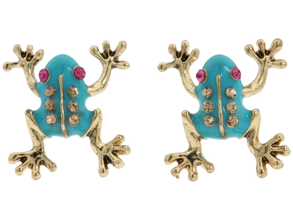 Betsey Johnson - Frog Stud Earrings (Blue) Earring