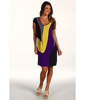 Suzi Chin for Maggy Boutique - S/L Drape Sleeve V-Neck Color Block Dress