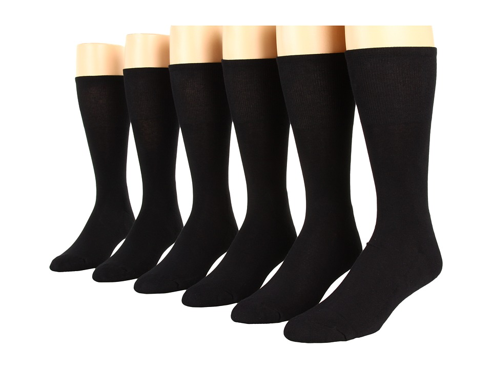 Ecco Socks Dress Cushion Mercerized Cotton 6 pack Black Mens Crew Cut Socks Shoes