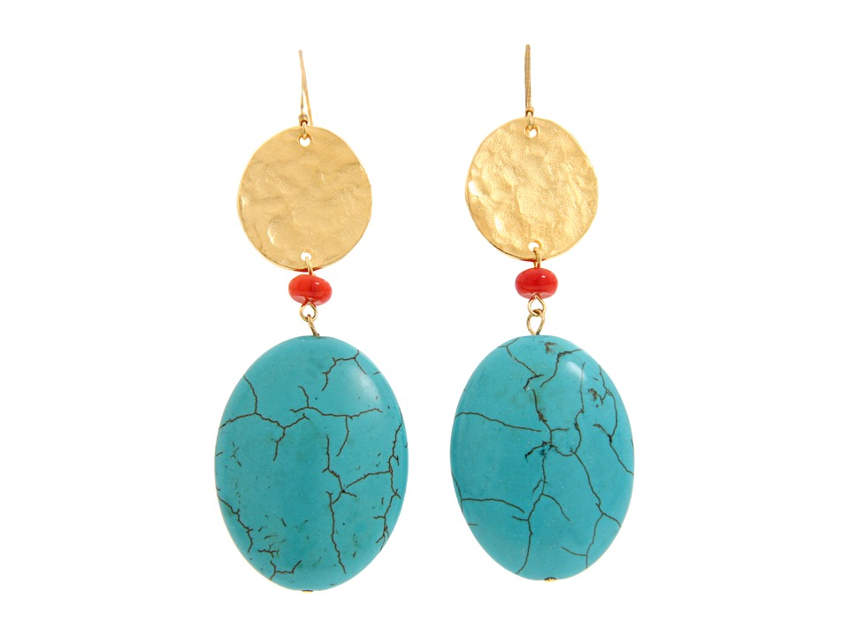 Kenneth Jay Lane - 1557ERT (Turq/Gold/Coral) Earring