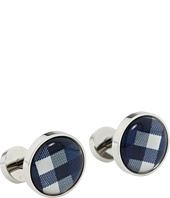 würkin stiffs - Cufflinks, Circle, Blue and White Plaid