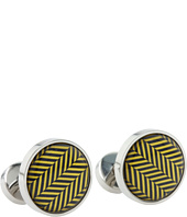 würkin stiffs - Cufflinks, Circle, Gold and Navy Herringbone