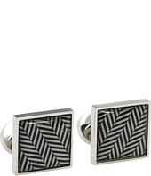 würkin stiffs - Cufflinks, Square, Black and Grey Herringbone