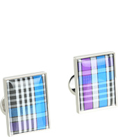 würkin stiffs - Cufflinks, Rectangle, Purple and Blue Plaid