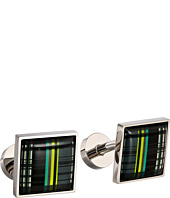 würkin stiffs - Cufflinks, Rectangle, Blue and Green Plaid