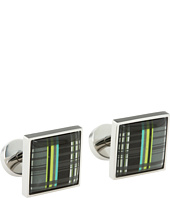 würkin stiffs - Square Cufflinks (Blue and Green Plaid)