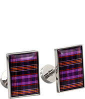 würkin stiffs - Cufflinks, Rectangle, Purple and Orange Plaid