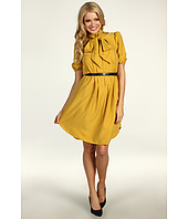 Jessica Simpson - Short Sleeve Tie Collar Shirt Dress w/ Pockets