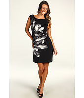 Maggy London - Cap Sleeve Placed Feather Jersey Shift Dress