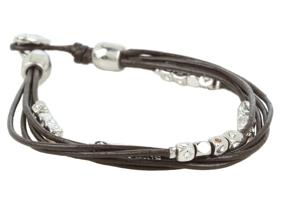 Fossil - Dainty Strands Leather Wrap Bracelet (Shiny Silver/Clear/Chocolate Leather) Bracelet