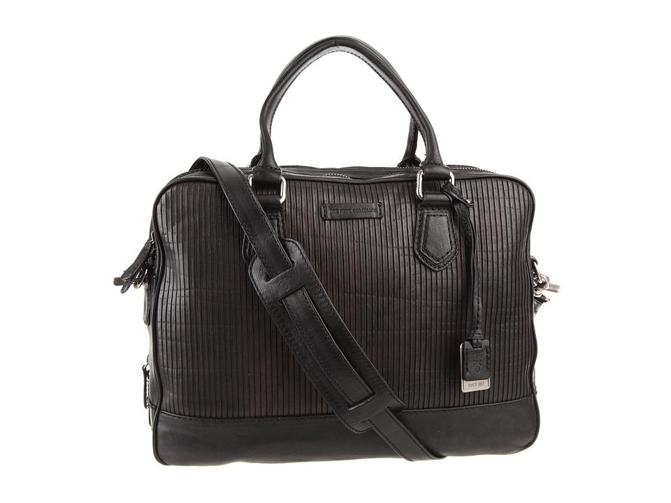 Frye - James Work Zip (Black Veg Cut Leather) Top-Zip Handbags