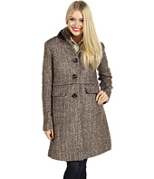 Ivanka Trump - Faux Fur Stand Collar Tweed Coat