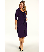Jessica Howard - 1 Piece 3/4 Sleeve Cascade Ruffle Gathered Sheath Dress