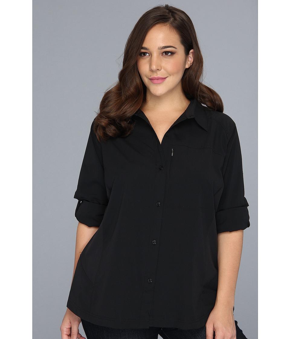 Columbia - Plus Size Silver Ridgetm L/S Shirt (Black) Womens Long Sleeve Button Up