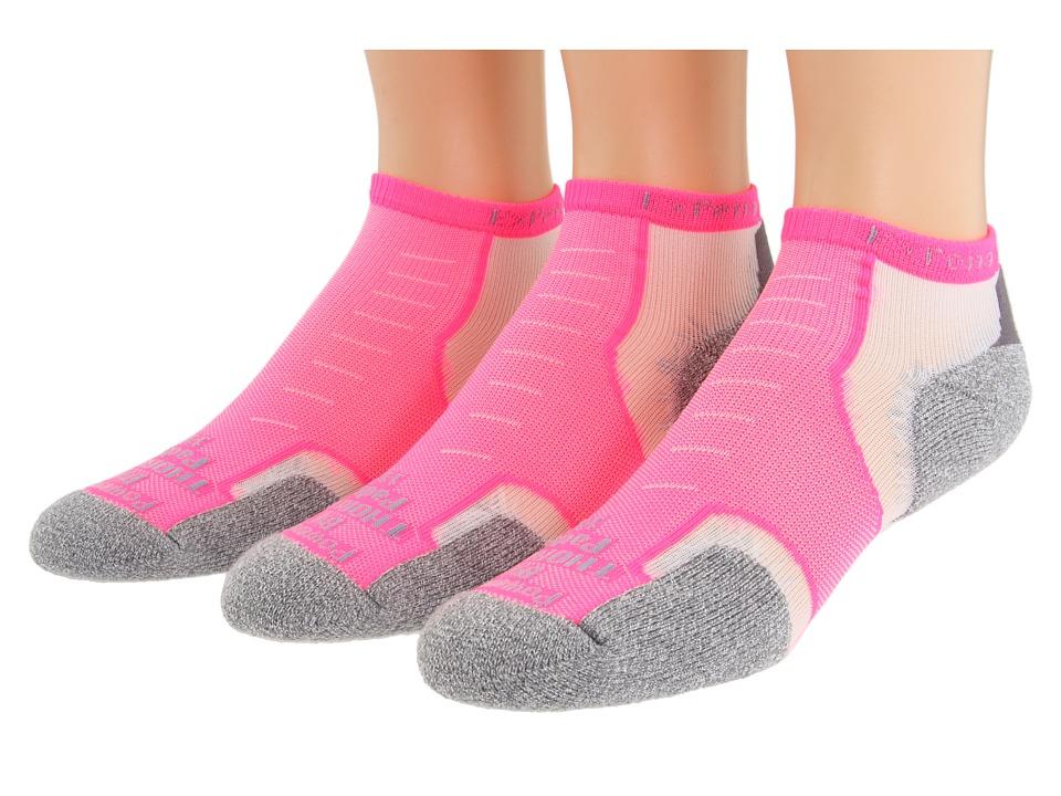 Thorlos Experia Micro Mini 3 Pair Pack Electric Pink No Show Socks Shoes