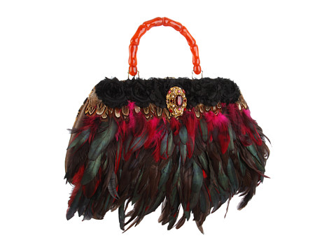 Inspired by Claire Jane - Ruby Feather Purse (Ruby Red/Black/Red Handle) - Bags and Luggage