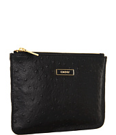 DKNY - Ostrich Leather Flat Zip Pouch