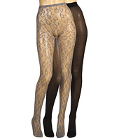 Betsey Johnson - 2 Pack Solid/ Leopard Fishnet