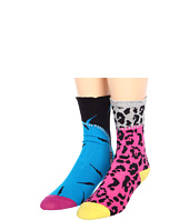 Betsey Johnson - 2 Pack Zip Me Up In Your Love! Crew Socks