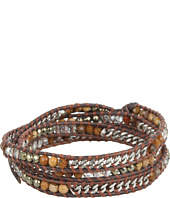 Chan Luu - Onyx Mix and Silver Chain Wrap Bracelet On Natural Grey Leather