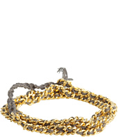 Chan Luu - Gold Chain Mixed With Charcoal Cotton Cord Wrap Bracelet