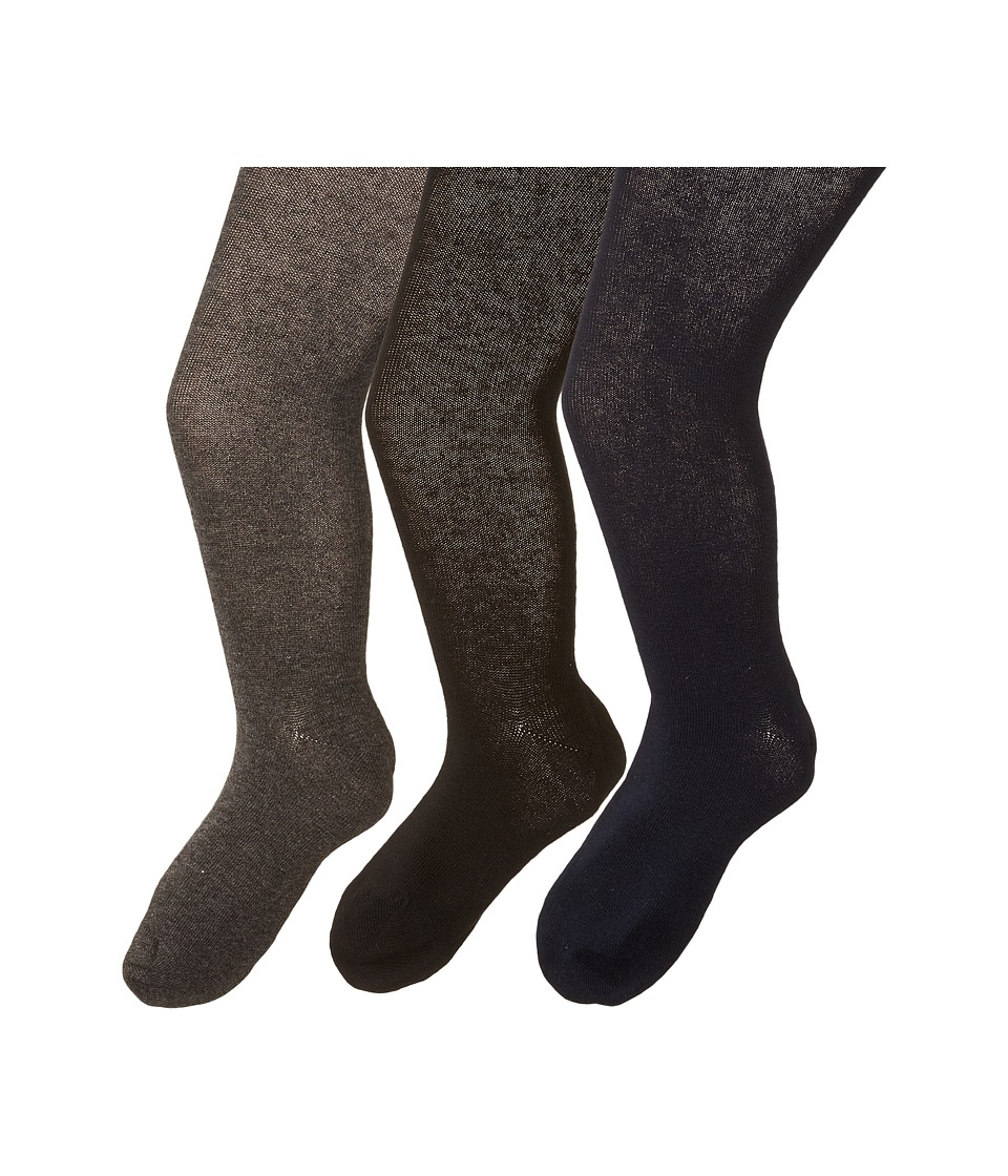 Jefferies Socks - Seamless Organic Tight Three Pack (Toddler/Little Kid/Big Kid) (Black/Charcoal/Navy) Hose