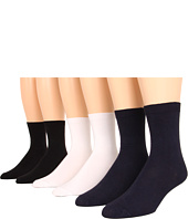 Jefferies Socks - Flat Knit Crew Six Pair Pack (Adult)