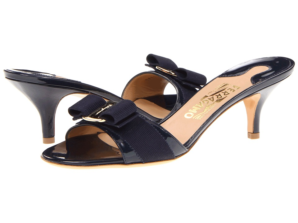 Salvatore Ferragamo - Patent Leather Kitten Heel Sandal (Oxford Blue Patent) Womens Dress Sandals