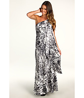 ABS Allen Schwartz - Printed Gown w/ Drop Sash Detail
