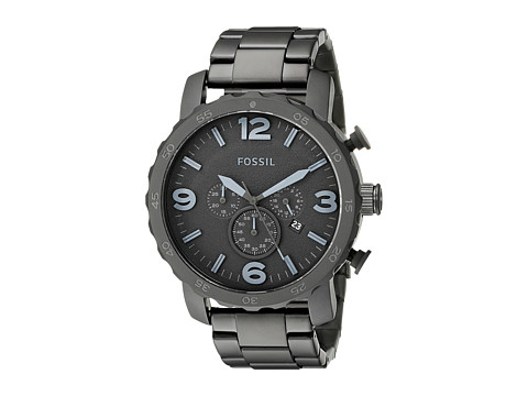 Fossil JR1401 Nate Chronograph Stainless Steel Watch - Black