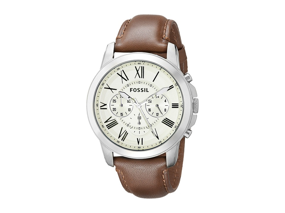 Fossil - Grant - FS4735 (Eggshell/Brown) Analog Watches