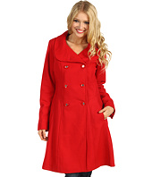 Jessica Simpson - Melton Wool Double Pleated Stand Collar Coat