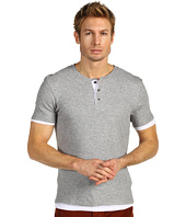 Vince - Double Layer Jersey Short Sleeve Henley Tee