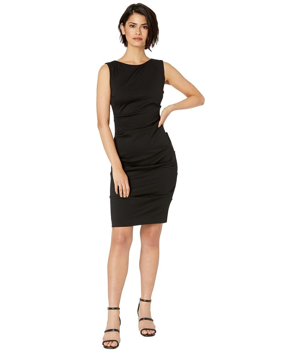 Nicole Miller Ponte Sleeveless Tucked Dress (Black) Women