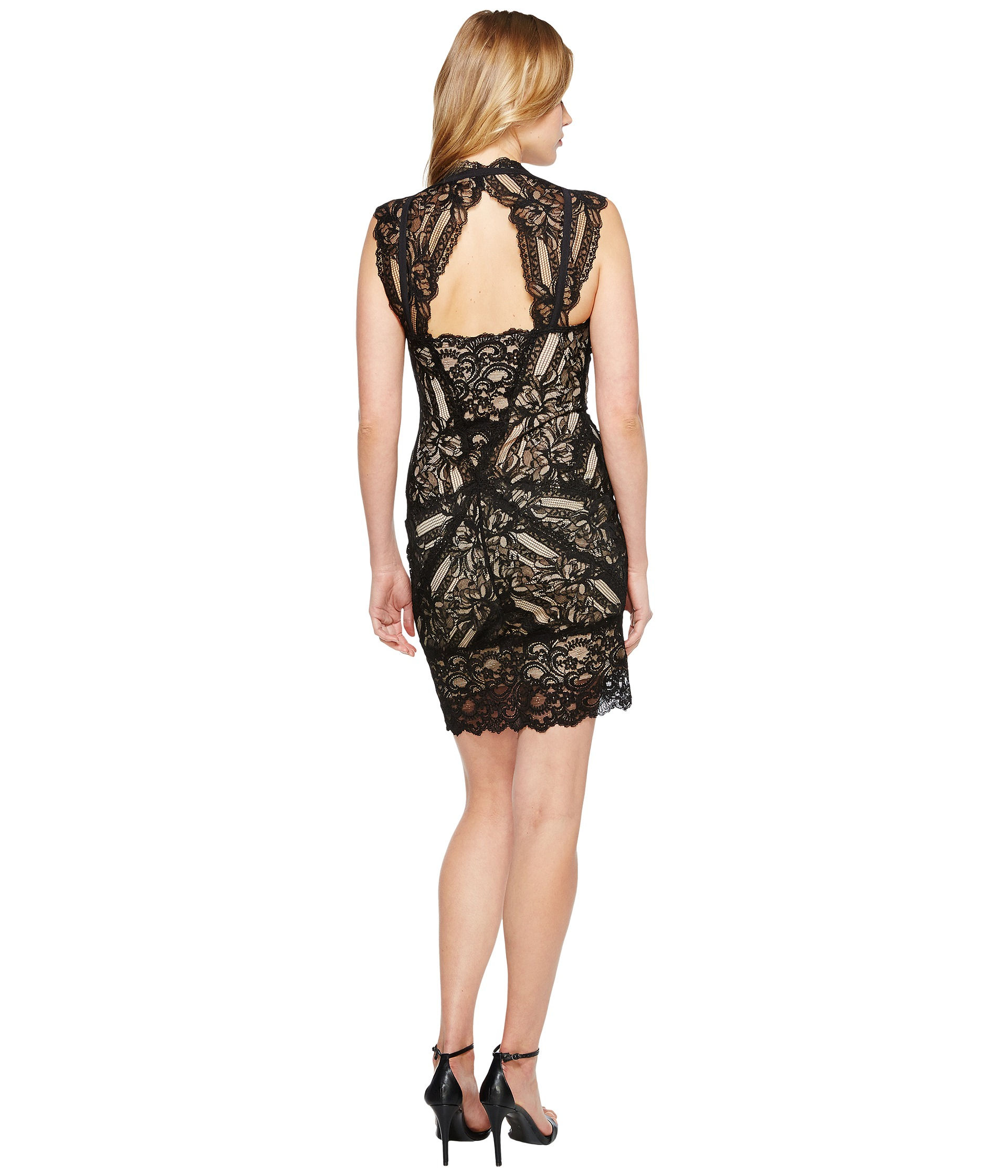 Nicole Miller Stretch Lace Dress With Open Back Detail