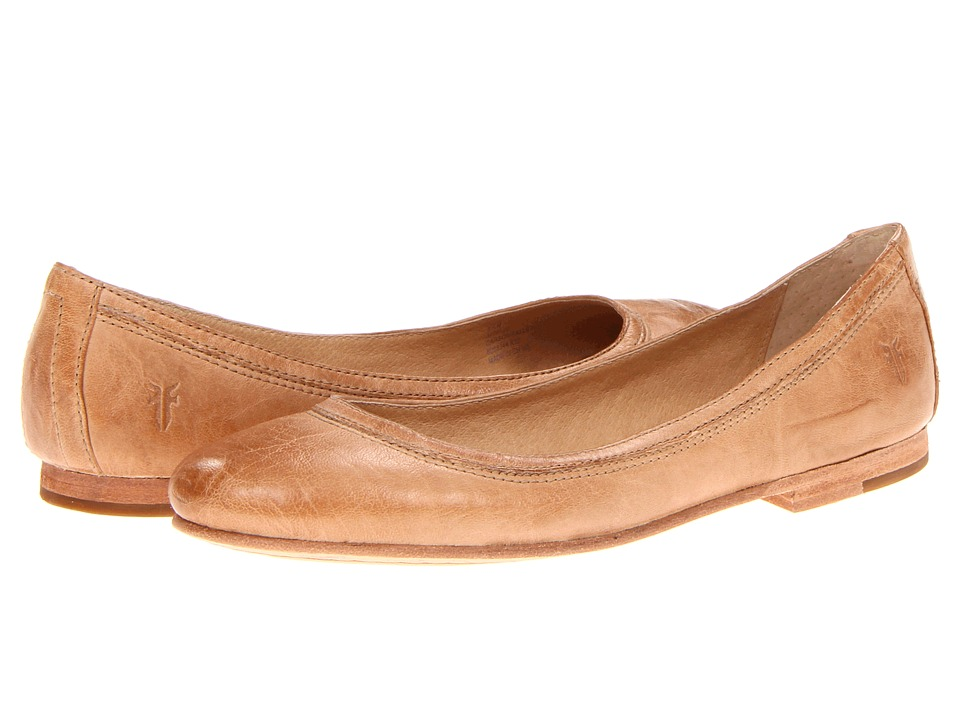 Frye Carson Ballet (Beige Antique Soft Vintage Full Grain) Flats