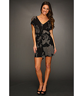 Halston Heritage - Rolled Up Short Sleeved V-Neck Romper